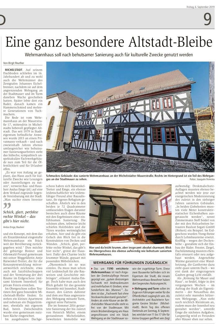 Das Wehrmannhaus im ODENWÄLDER ECHO vom 6. September, 2019